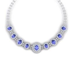 46.51 CTW Royalty Tanzanite & VS Diamond Necklace 18K White Gold - REF-1727M3F - 38799