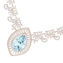 68.1 CTW Royalty Sky Topaz & VS Diamond Necklace 18K Rose Gold - REF-1327K3R - 39784