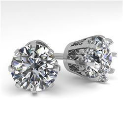 4 CTW VS/SI Diamond Stud Solitaire Earrings 18K White Gold - REF-1936X4T - 35706