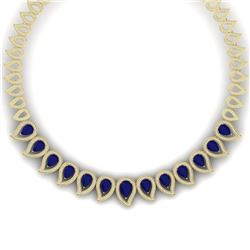 33.4 CTW Royalty Sapphire & VS Diamond Necklace 18K Yellow Gold - REF-1200X2T - 39443
