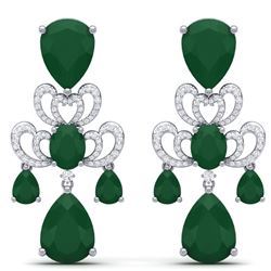 58.73 CTW Royalty Emerald & VS Diamond Earrings 18K White Gold - REF-636X4T - 38670