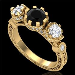 1.75 CTW Fancy Black Diamond Solitaire Art Deco 3 Stone Ring 18K Yellow Gold - REF-153X6T - 37879