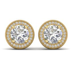 4 CTW Certified VS/SI Diamond Art Deco Stud Earrings 14K Yellow Gold - REF-1071R6K - 30530