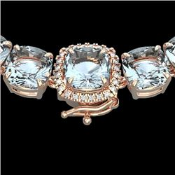 87 CTW Aquamarine & VS/SI Diamond Halo Micro Eternity Necklace 14K Rose Gold - REF-726N9Y - 23337
