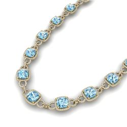 66 CTW Topaz & VS/SI Diamond Certified Necklace 14K Yellow Gold - REF-805K3R - 23054