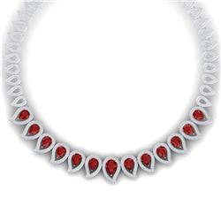33.4 CTW Royalty Designer Ruby & VS Diamond Necklace 18K White Gold - REF-1236R4K - 39438