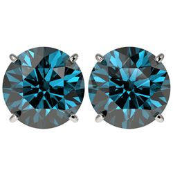 5 CTW Certified Fancy Blue SI Diamond Stud Earrings 10K White Gold - REF-1390M5F - 33148