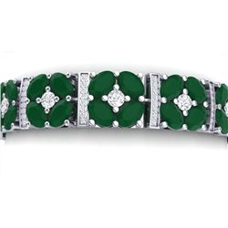 39.78 CTW Royalty Emerald & VS Diamond Bracelet 18K White Gold - REF-636T4X - 39012
