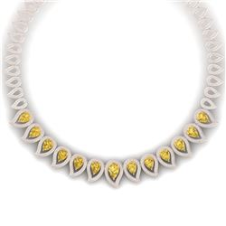 31.74 CTW Royalty Canary Citrine & VS Diamond Necklace 18K Rose Gold - REF-1145H5W - 39448