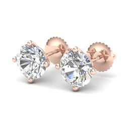 3.01 CTW VS/SI Diamond Solitaire Art Deco Stud Earrings 18K Rose Gold - REF-927R3K - 37311