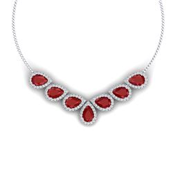 34.72 CTW Royalty Ruby & VS Diamond Necklace 18K White Gold - REF-690F9M - 38829