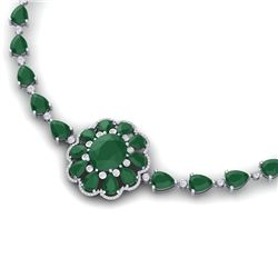 78.98 CTW Royalty Emerald & VS Diamond Necklace 18K White Gold - REF-763Y6N - 39168