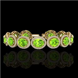 27 CTW Peridot & Micro Pave VS/SI Diamond Certified Bracelet 10K Yellow Gold - REF-409Y3N - 22694