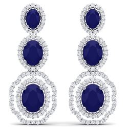 17.51 CTW Royalty Sapphire & VS Diamond Earrings 18K White Gold - REF-345Y5N - 39207