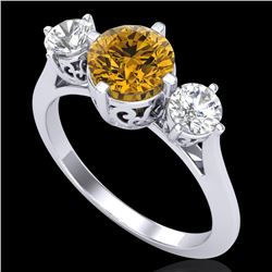 1.51 CTW Intense Fancy Yellow Diamond Art Deco 3 Stone Ring 18K White Gold - REF-236N4Y - 38085