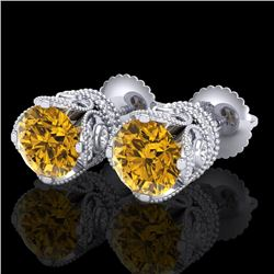 3 CTW Intense Fancy Yellow Diamond Art Deco Stud Earrings 18K White Gold - REF-349K3R - 37420
