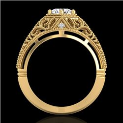 1.07 CTW VS/SI Diamond Solitaire Art Deco Ring 18K Yellow Gold - REF-345K2R - 36919
