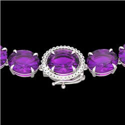 175 CTW Amethyst & VS/SI Diamond Halo Micro Eternity Necklace 14K White Gold - REF-531W6H - 22286