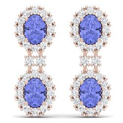 8.35 CTW Royalty Tanzanite & VS Diamond Earrings 18K Rose Gold - REF-263K6R - 38818