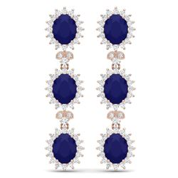 24.52 CTW Royalty Sapphire & VS Diamond Earrings 18K Rose Gold - REF-400K2R - 38644