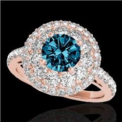 2.09 CTW SI Certified Fancy Blue Diamond Solitaire Halo Ring 10K Rose Gold - REF-220K2R - 33694