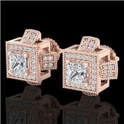1.73 CTW Princess VS/SI Diamond Micro Pave Stud Earrings 18K Rose Gold - REF-254F5M - 37185