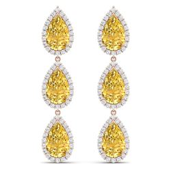 24.23 CTW Royalty Canary Citrine & VS Diamond Earrings 18K Rose Gold - REF-290K9R - 38854