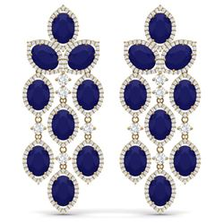 35.15 CTW Royalty Sapphire & VS Diamond Earrings 18K Yellow Gold - REF-536M4F - 38930