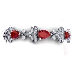 24.8 CTW Royalty Designer Ruby & VS Diamond Bracelet 18K White Gold - REF-472K8R - 38733