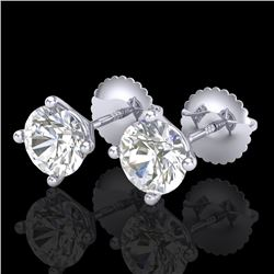 1.5 CTW VS/SI Diamond Solitaire Art Deco Stud Earrings 18K White Gold - REF-309R3K - 37301