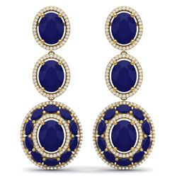 32.84 CTW Royalty Sapphire & VS Diamond Earrings 18K Yellow Gold - REF-436T4X - 39263