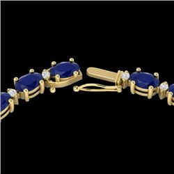 35 CTW Sapphire & VS/SI Diamond Certified Eternity Tennis Necklace 10K Yellow Gold - REF-231M8F - 21