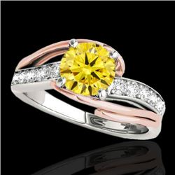 1.5 CTW Certified Si Intense Diamond Bypass Solitaire Ring 2 Tone 10K White & Rose Gold - REF-218F2M