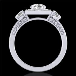 1.55 CTW VS/SI Diamond Solitaire Art Deco 3 Stone Ring 18K White Gold - REF-272F8M - 37274