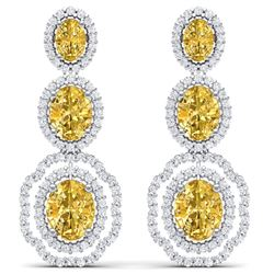 16.15 CTW Royalty Canary Citrine & VS Diamond Earrings 18K White Gold - REF-290N9Y - 39216