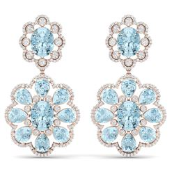 32.99 CTW Royalty Sky Topaz & VS Diamond Earrings 18K Rose Gold - REF-345R5K - 39163