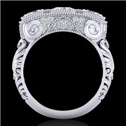 2.51 CTW VS/SI Diamond Solitaire Art Deco 3 Stone Ring 18K White Gold - REF-360F2M - 36989