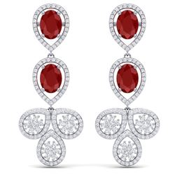 9.75 CTW Royalty Designer Ruby & VS Diamond Earrings 18K White Gold - REF-309T3X - 39081