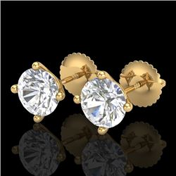 2 CTW VS/SI Diamond Solitaire Art Deco Stud Earrings 18K Yellow Gold - REF-540R2K - 37306