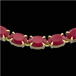 40 CTW Ruby Eternity Tennis Necklace 14K Yellow Gold - REF-218X2T - 23380