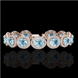 30 CTW Sky Blue Topaz & Micro Pave VS/SI Diamond Certified Bracelet 10K Rose Gold - REF-360H2W - 227