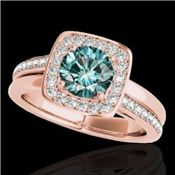 1.33 CTW SI Certified Fancy Blue Diamond Solitaire Halo Ring 10K Rose Gold - REF-176M4F - 34156
