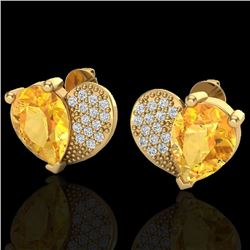 2.50 CTW Citrine & Micro Pave VS/SI Diamond Certified Earrings 10K Yellow Gold - REF-30R2K - 20071