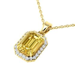 4.50 CTW Citrine & Micro Pave VS/SI Diamond Halo Necklace 18K Yellow Gold - REF-50R9K - 21357