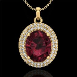 4.50 CTW Garnet & Micro Pave VS/SI Diamond Certified Necklace 18K Yellow Gold - REF-96R5K - 20566
