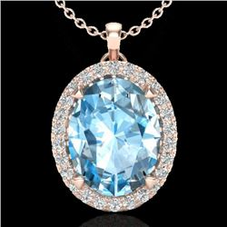 2.75 CTW Sky Blue Topaz & Micro VS/SI Diamond Halo Necklace 14K Rose Gold - REF-39W3H - 20581