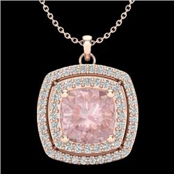 1.97 CTW Morganite & Micro VS/SI Diamond Certified Halo Necklace 14K Rose Gold - REF-76K4R - 20459