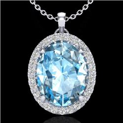 2.75 CTW Sky Blue Topaz & Micro VS/SI Diamond Halo Necklace 18K White Gold - REF-46T8X - 20582
