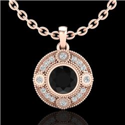 1.01 CTW Fancy Black Diamond Solitaire Art Deco Stud Necklace 18K Rose Gold - REF-100N2Y - 37703