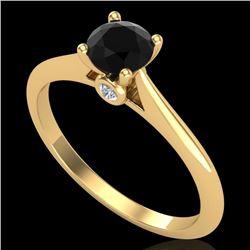 0.56 CTW Fancy Black Diamond Solitaire Engagement Art Deco Ring 18K Yellow Gold - REF-52K8R - 38187